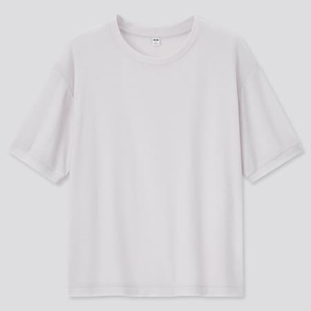 Women Sheer Crew Neck Short Sleeved T-Shirt
