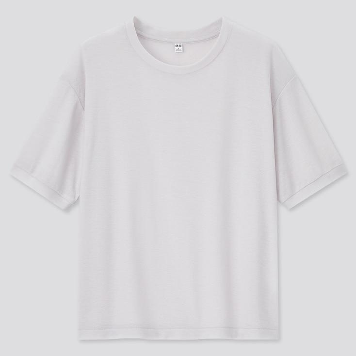 Women Sheer Short-Sleeve T-Shirt, Light Gray, Large