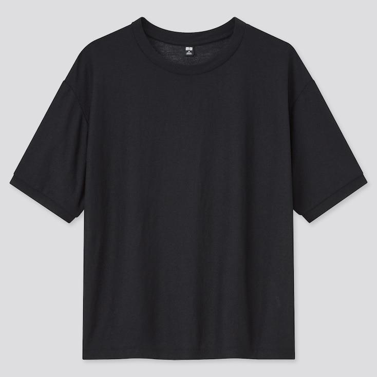Women Sheer Short-Sleeve T-Shirt, Black, Large