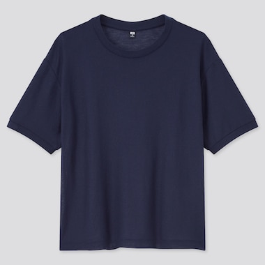 Women Sheer Short-Sleeve T-Shirt, Navy, Medium