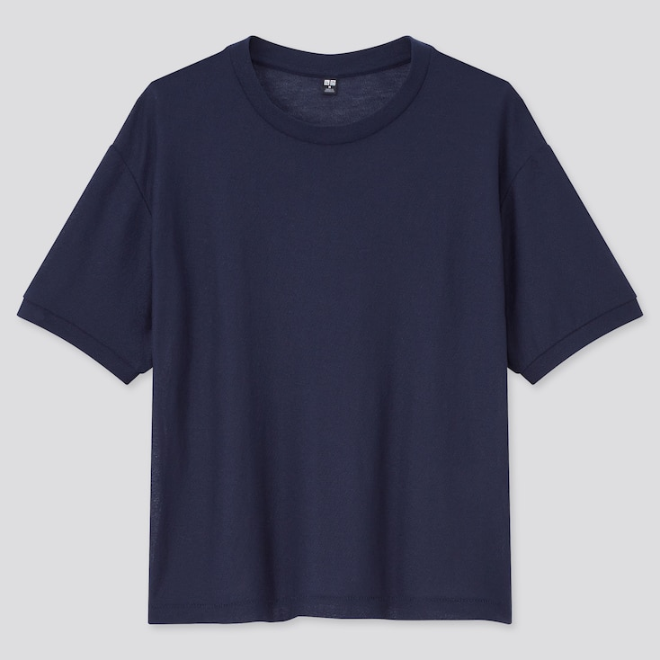 Women Sheer Short-Sleeve T-Shirt, Navy, Large