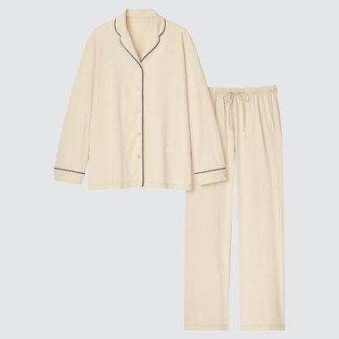 Women Airism Cotton Long-Sleeve Pajamas, Natural, Medium