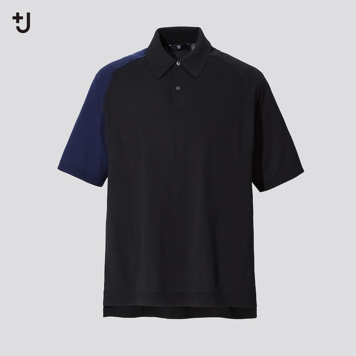 Men +J Silk-Cotton Knitted Short-Sleeve Polo Shirt, Black, Large