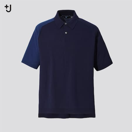 Men +J Silk Cotton Blend Knit Colour Block Polo Shirt