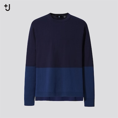 Men +J Silk-Cotton Crew Neck Long-Sleeve Sweater, Navy, Medium