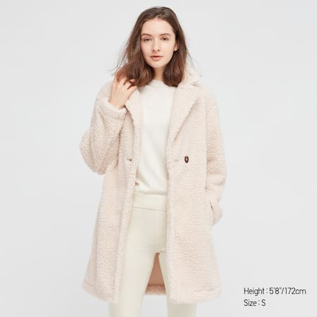 Women Fleece Pile Lined Tailored Coat