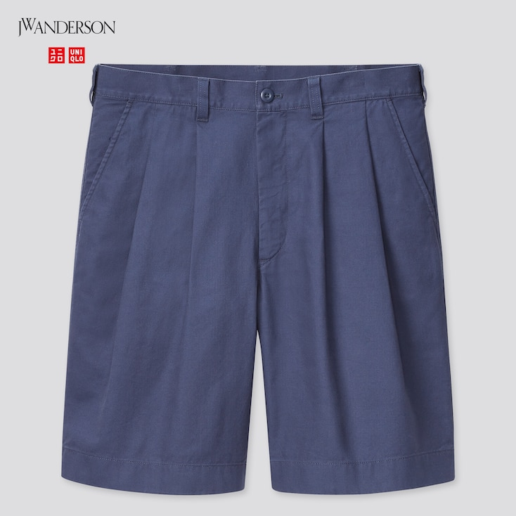 Men Pleated Chino Shorts (Jw Anderson), Blue, Large