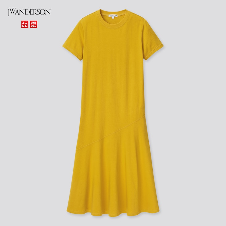 Women Cotton Short-Sleeve Fluid Hem Dress (Jw Anderson), Yellow, Large