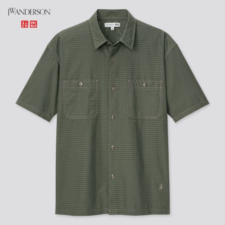 Men JW Anderson Checked Short Sleeved Work Shirt