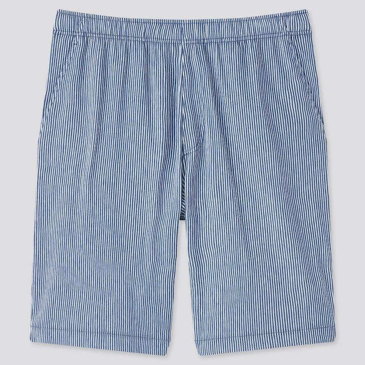 Men Striped Easy Shorts, Blue, Large