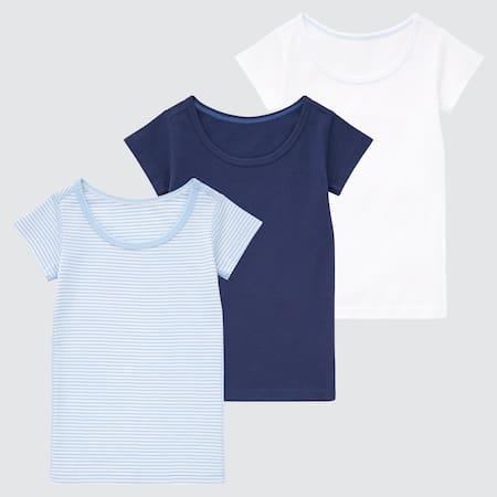 Babies Toddler Cotton Short Sleeved Striped T-Shirt (Three Pack)