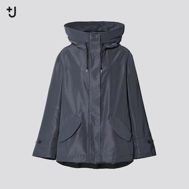 Women +J Silk Blend Loose Fit Hooded Parka