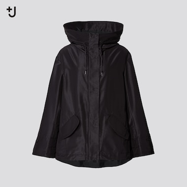 Women +J Silk-Blend Oversized Parka, Black, Medium