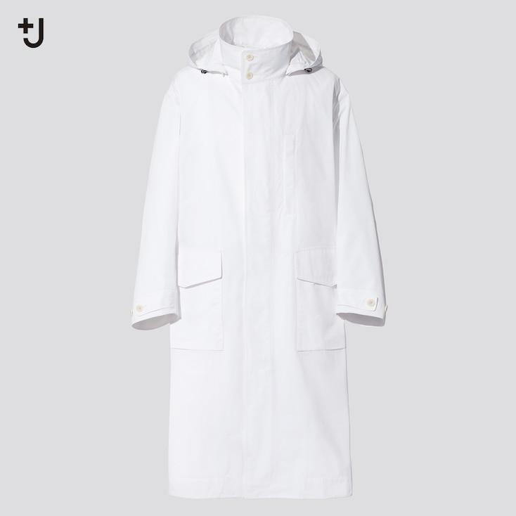 Men +J Oversized Hooded Long Coat, White, Large