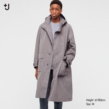 Men +J Oversized Hooded Long Coat, Gray, Medium