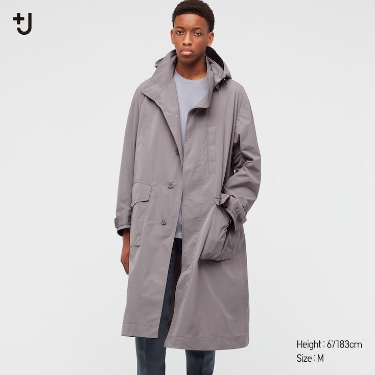 Men +J Oversized Hooded Long Coat, Gray, Large
