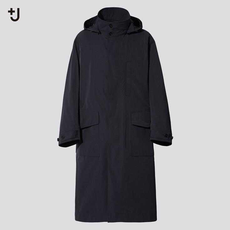 Men +J Oversized Hooded Long Coat, Black, Large