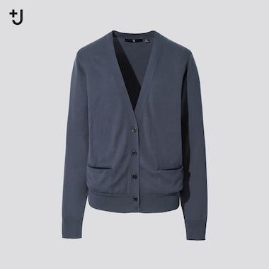 Women +J Silk Cotton Blend V Neck Cardigan