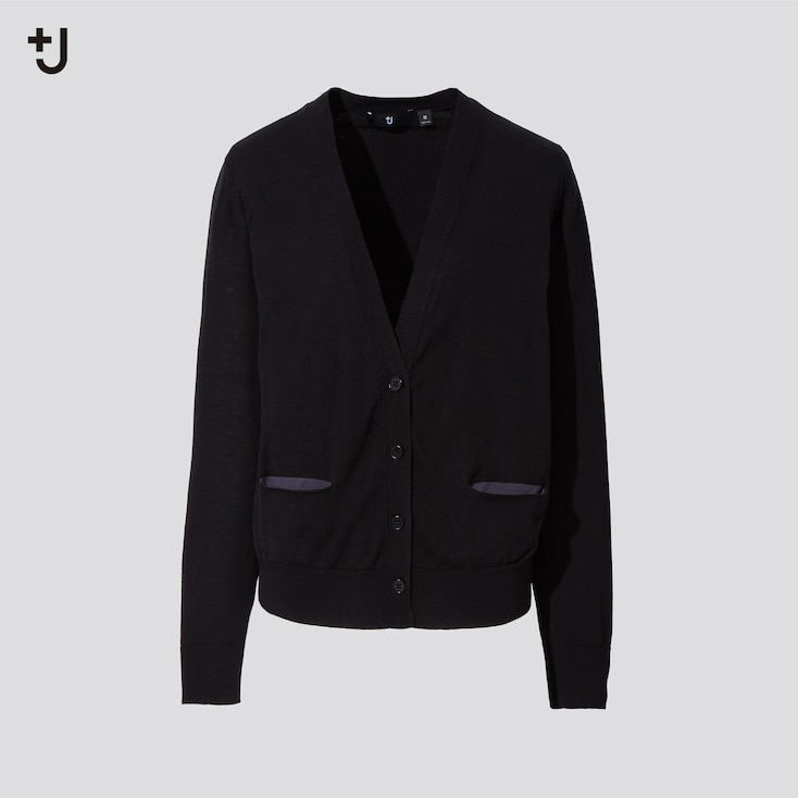 Women +J Silk-Cotton V-Neck Cardigan, Black, Large