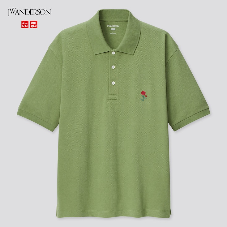 Men Flower Embroidery Short-Sleeve Polo Shirt (Jw Anderson), Green, Large