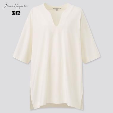 Women Airism Cotton Oversized Half-Sleeve T-Shirt (Mame Kurogouchi), Off White, Medium
