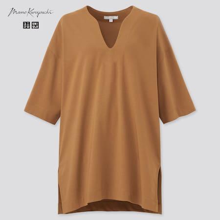 Women Mame Kurogouchi AIRism Cotton Oversized Fit Half Sleeved T-Shirt