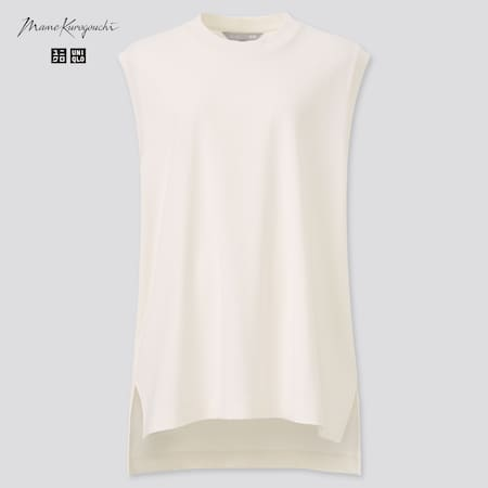 Women Mame Kurogouchi AIRism Cotton Oversized Fit Sleeveless T-Shirt