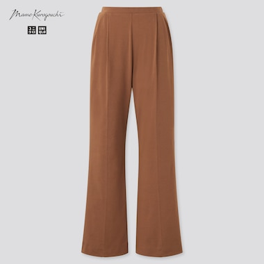 Women Airism Cotton Pleated Pants (Mame Kurogouchi), Brown, Medium