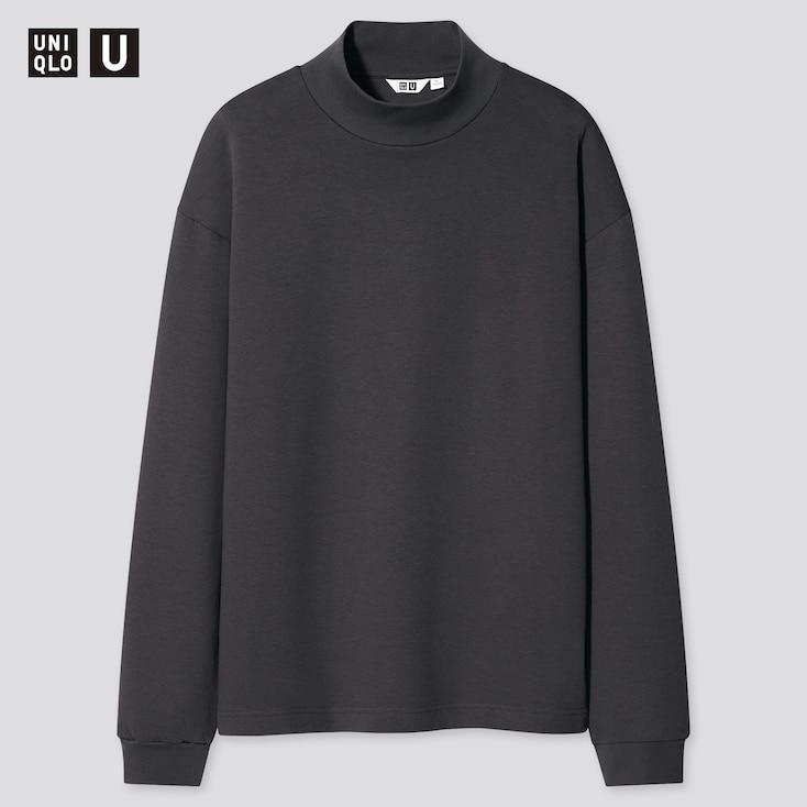 U Mock Neck Long-Sleeve Pullover, Gray, Large