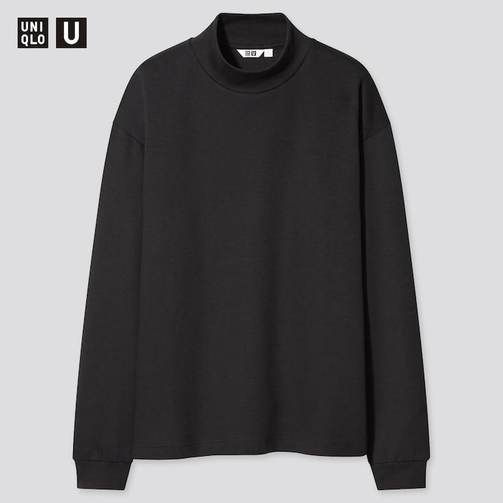 U Mock Neck Long-Sleeve Pullover, Black, Large