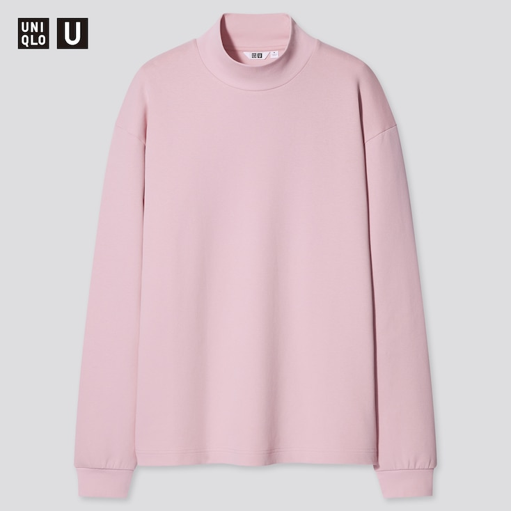 U Mock Neck Long-Sleeve Pullover, Pink, Large