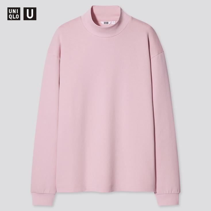 U Mock Neck Long-Sleeve Pullover, Pink, Large