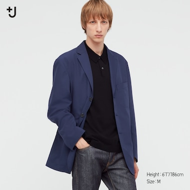 Men +J Wool-Blend Oversized Jacket, Blue, Medium