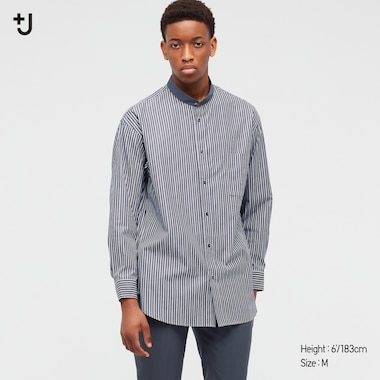 Men +J Supima Cotton Loose Fit Shirt (Grandad Collar)