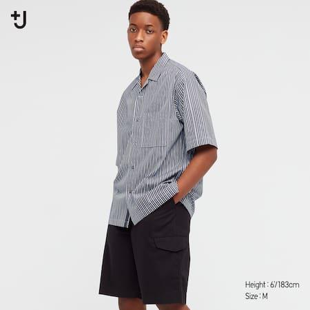 Men +J Supima Cotton Loose Fit Short Sleeved Shirt (Open Collar)
