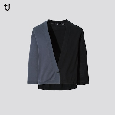 Women +J Silk Cotton Blend V Neck 3/4 Sleeved Cardigan