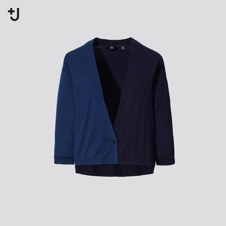 Women +J Silk-Cotton V-Neck 3/4 Sleeve Short Cardigan, Blue, Large