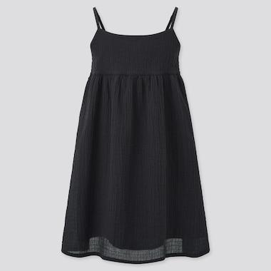 Girls Seersucker Camisole Dress, Black, Medium