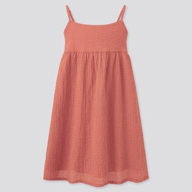 Girls Seersucker Camisole Dress, Orange, Medium