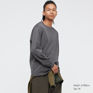 Airism Cotton Uv Protection Crew Neck Long-Sleeve T-Shirt, Gray, Medium