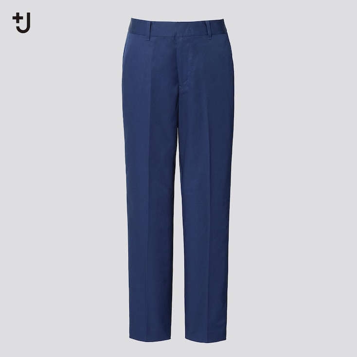 Women +J Linen-Cotton Tapered Pants, Blue, Large