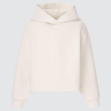 Girls Ultra Stretch Dry Sweat Cropped Hoodie, Off White, Medium