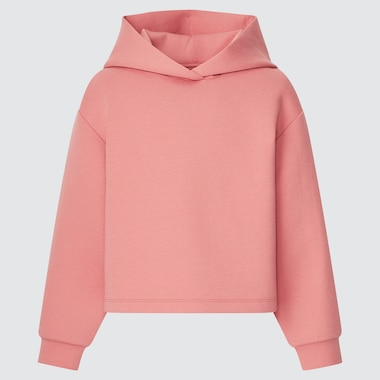 Girls Ultra Stretch Dry Sweat Cropped Hoodie, Pink, Medium