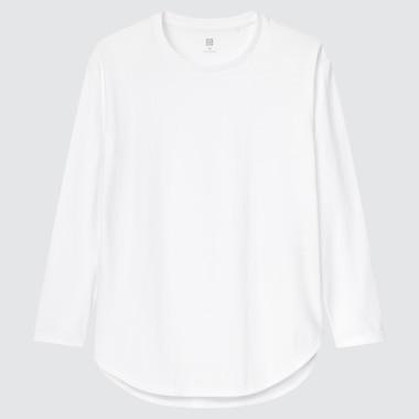 Girls Smooth Cotton Shirttail Long-Sleeve T-Shirt, White, Medium