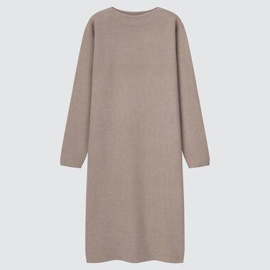 WOMEN SOUFFLE YARN BOAT NECK LONG-SLEEVE DRESS (ONLINE EXCLUSIVE)
