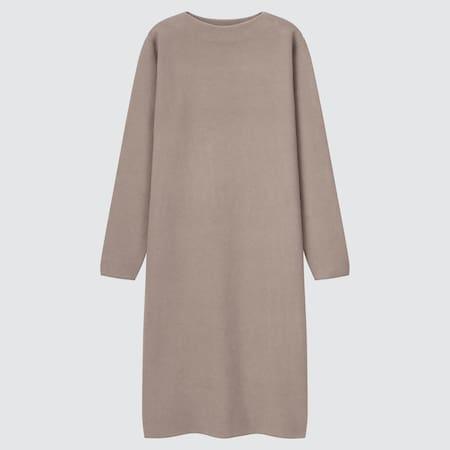 Damen Langärmliges sanftes Soufflé Strickkleid mit Boot-Ausschnitt