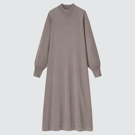 Damen Merinowollmix Langarm Kleid in A-Linie