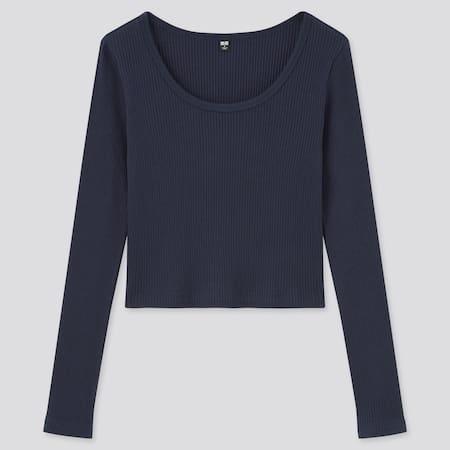 T-shirt Crop Côtelé en Coton Manches Longues Femme