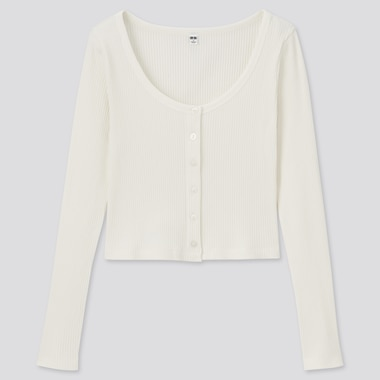 Women Cotton Ribbed Cropped Fit Cardigan