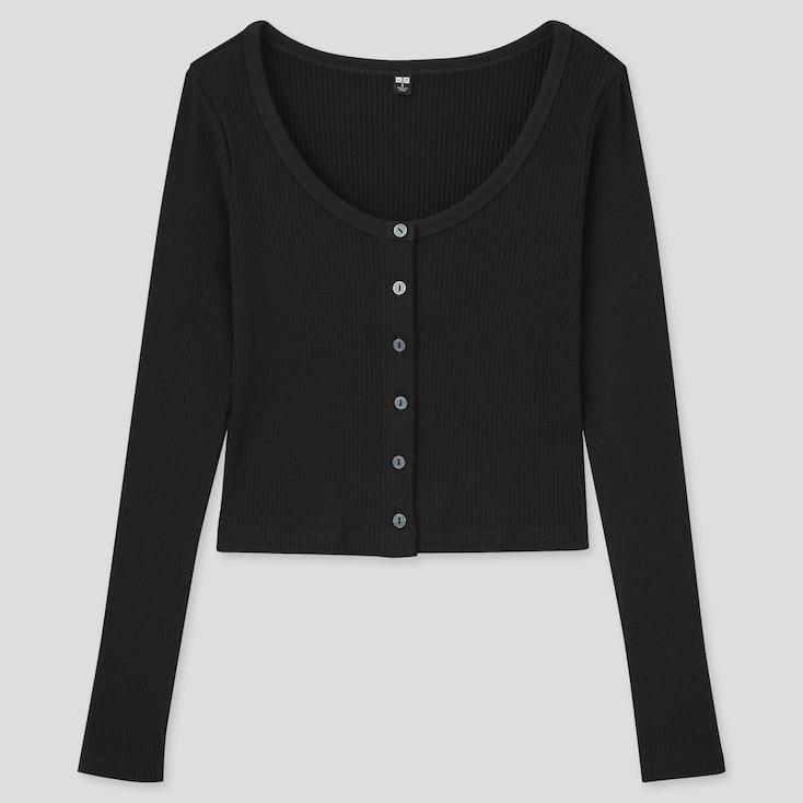 Women Cotton Ribbed Long-Sleeve Cropped Cardigan, Black, Large